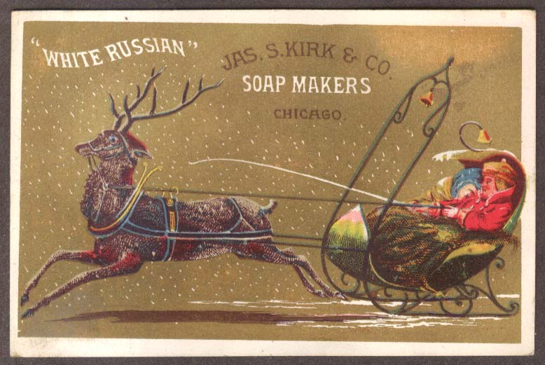 Image for J S Kirk Soap trade card White Russian two in a reindeer sleigh 1880s