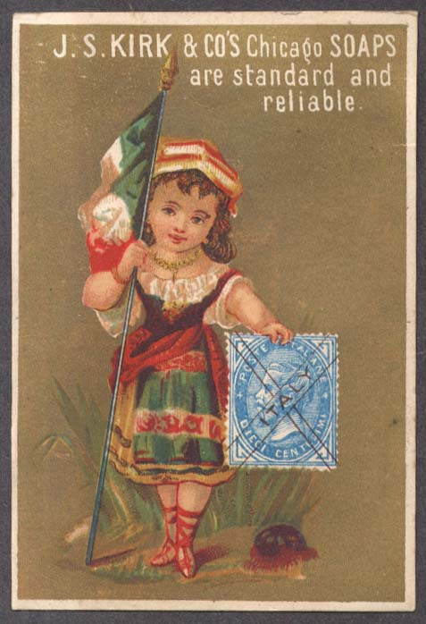 Image for J S Kirk Soap trade card Italian girl flag & postage stamp 1880s