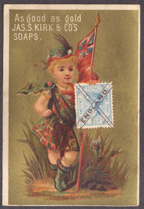 Image for J S Kirk Soap trade card Scottish girl flag & England postage stamp 1880s