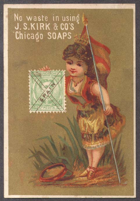 Image for J S Kirk Soap trade card Spanish girl flag & postage stamp 1880s