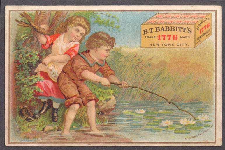 Image for B T Babbitt's 1776 Medicinal Yeast trade card kids beside lily pond 1880s