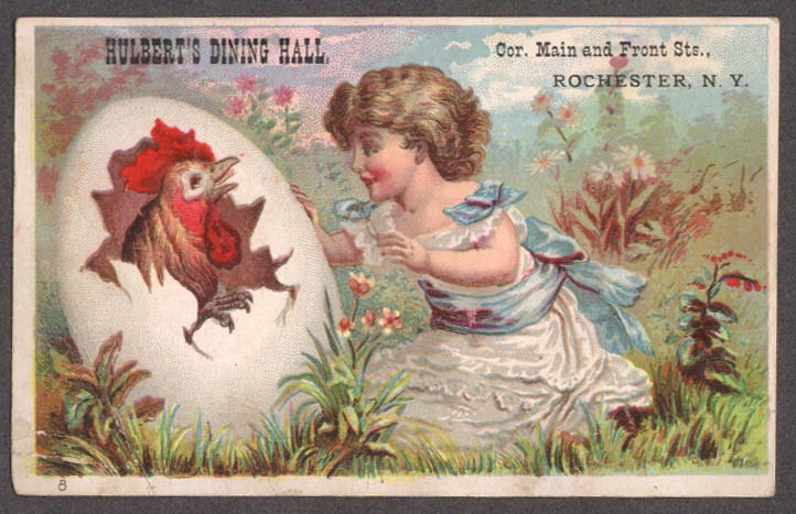 Image for Hulbert's Dining Hall Rochester NY trade card girl sees rooster in egg 1880s