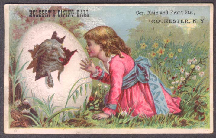 Image for Hulbert's Dining Hall Rochester NY trade card girl sees lamb in egg 1880s
