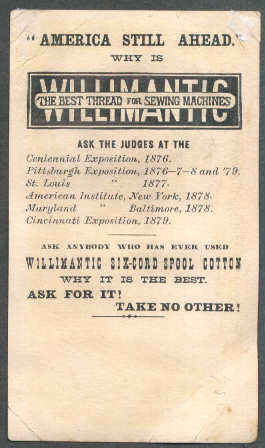 Image for See What Can Be Done Willimantic Thread trade card tied up elephant 1880s
