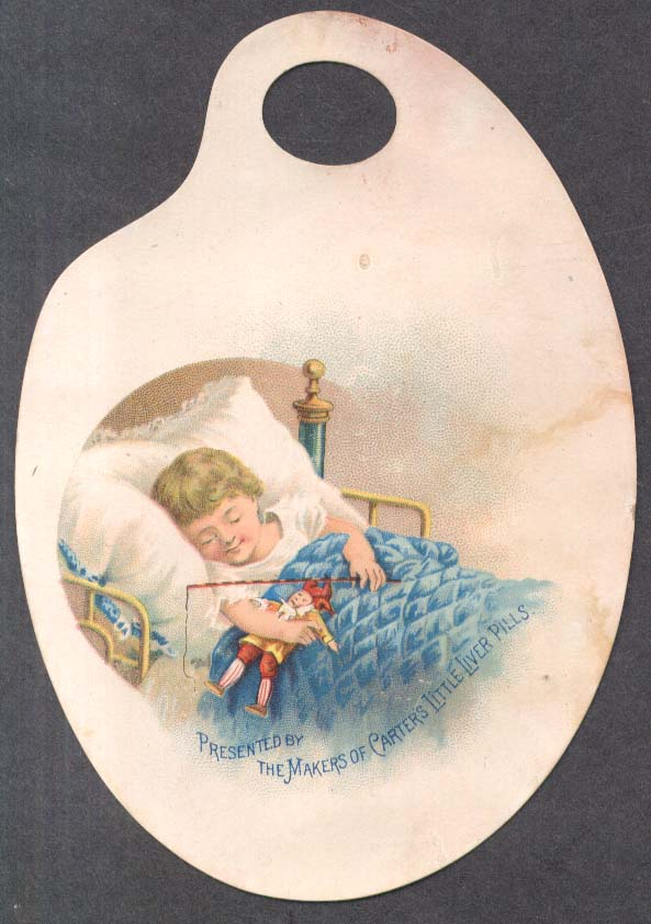 Image for Carter's Iron Pills trade card palette child sleeps with harlequin toy 1880s