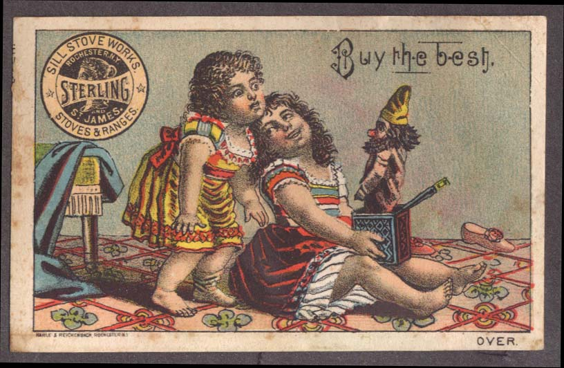 Image for Sill Stove Works Sterling St James Stoves trade card girls jack-in-the-box 1880s