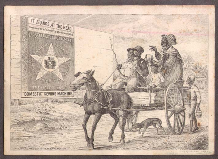 Image for Domestic Sewing Machine trade card Negro family in wagon 1882