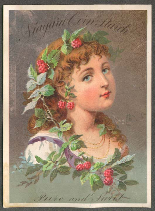 Niagara Corn Starch Pure & Sweet trade card girl with raspberries in hair 1880s