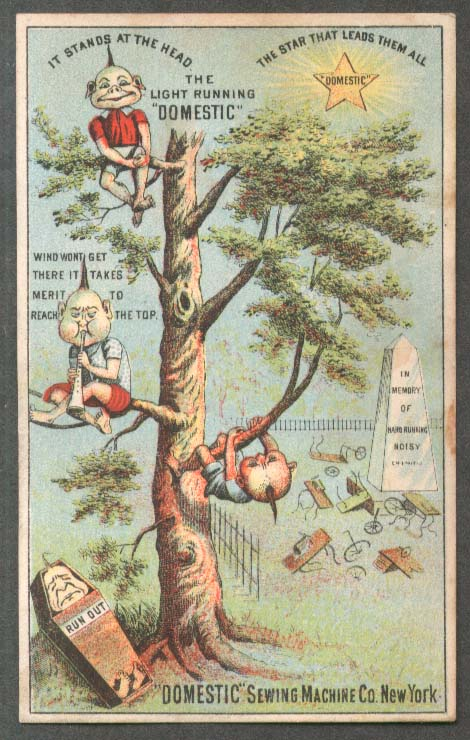 Image for Domestic Sewing Machine trade card Chinese graveyard tree 1880s