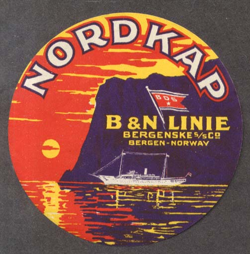 Image for Nordkap B&N Line steamship baggage sticker ca 1930s