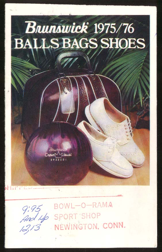 Image for Brunswick Bowling Balls Bags Shoes catalog folder 1975-1976 & how to score