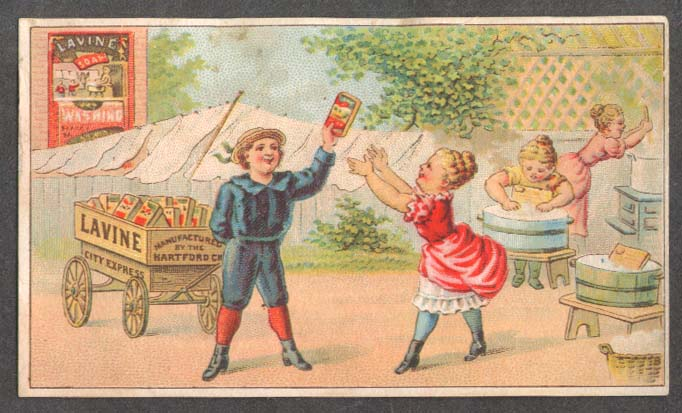 Image for Hartford Chemical Lavine Soap trade card boy hawks soap to laundry girls 1880s