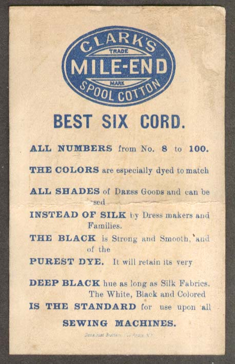 Image for Clark's Mile-End Spool Cotton Thread trade card boy trips man in top hat 1880s