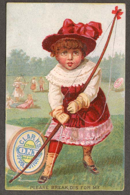 Image for Clark's O N T Spool Cotton Thread trade card girl archer archery 1880s