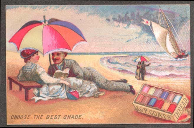 Image for J & P Coats Thread trade card Choose Best Shade couple under beach umbrella 188?