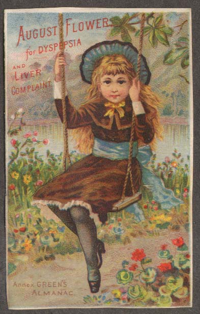 August Flowers for Dyspepsia trade card girl swing Boschee's German Syrup 1883