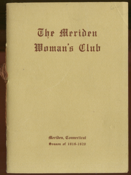 Image for Meriden Woman's Club Year Book Season of 1919-1920 CT