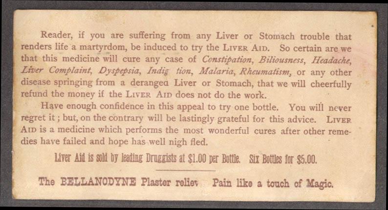 Image for Dr Grosvenor's Liveraid Wonderful Liver Remedy trade card 1880s