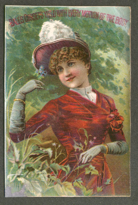 Bales Corsets Yield With Every Motion of the Body trade card Schoharie NY 1880s