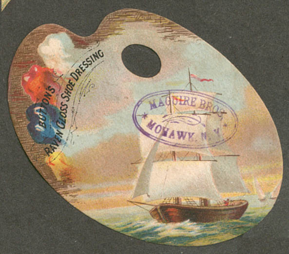 Image for Button's Raven Gloss Shoe Dressing trade card palette sailboat motif 1880s