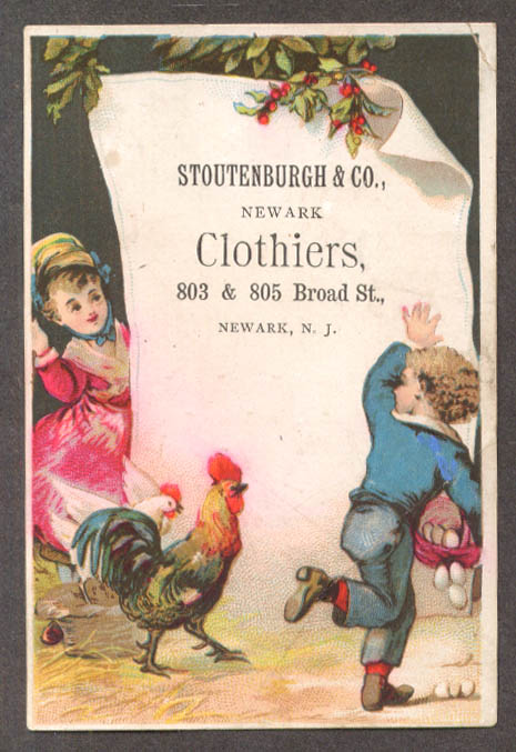 Image for Stoutenburgh & Co Clothiers Newark NJ trade card kids & chickens 1885