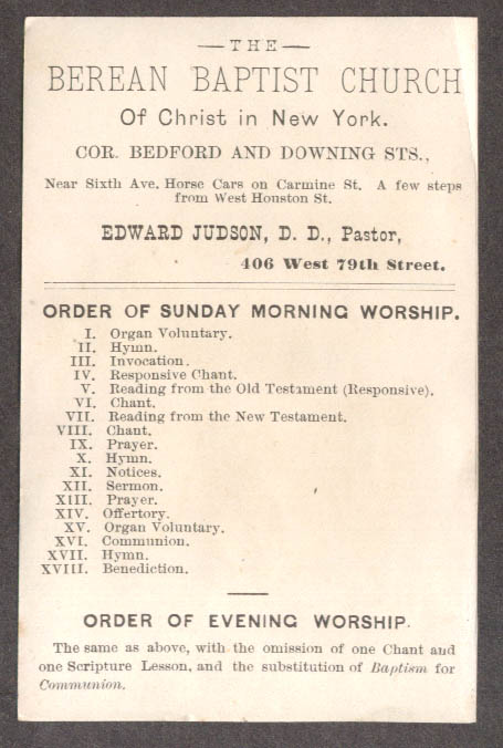 Berean Baptist Church of Christ New York Order of Worship trade card 1880s