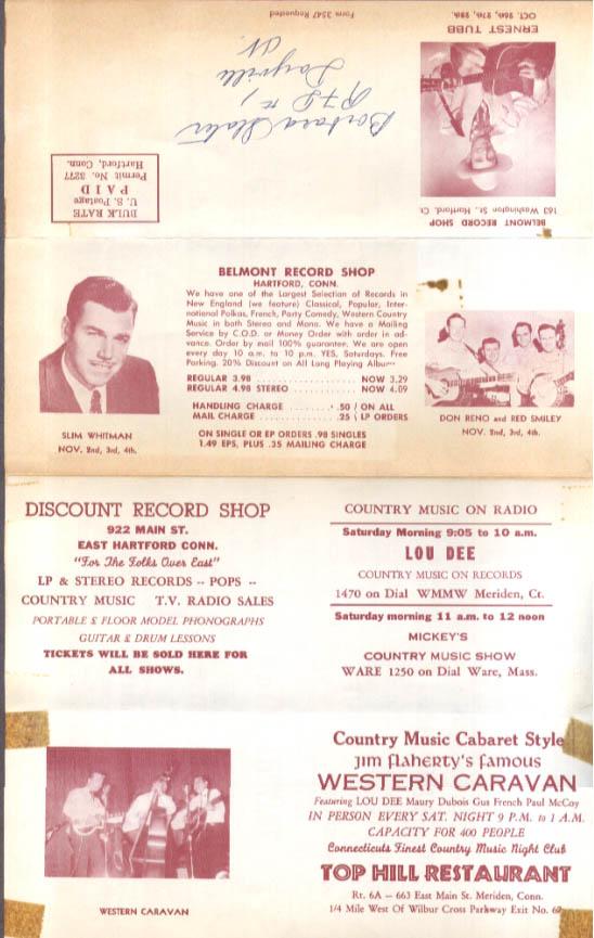 Ernest Tubb Slim Whitman Osborne Bros concert mailer New England tour 1950s
