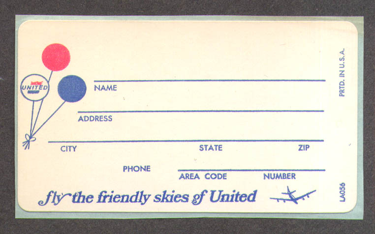 Image for Fly the Friendly Skies of United Air Lines baggage address label unused 1970s