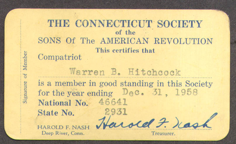 Image for Connecticut Society Sons of the American Revolution membership card 1958