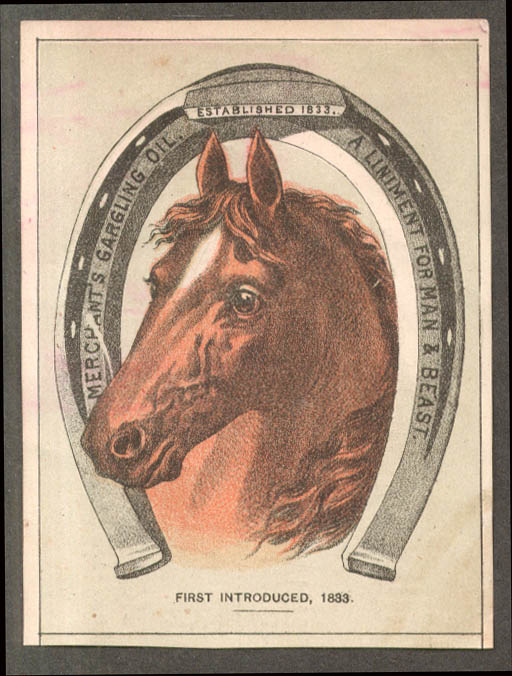 Image for Merchant's Gargling Oil Liniment for Man & Beast trade card horseshoe 1880s