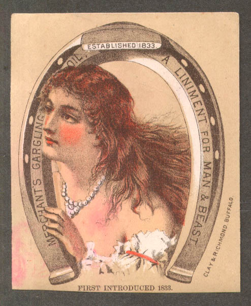 Image for Merchant's Gargling Oil Liniment for Man & Beast trade card woman pearls 1880s