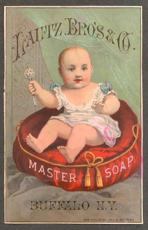 Image for Lautz Bros Master Soap trade card baby cushion Buffalo Douglass & Cowles Oneida