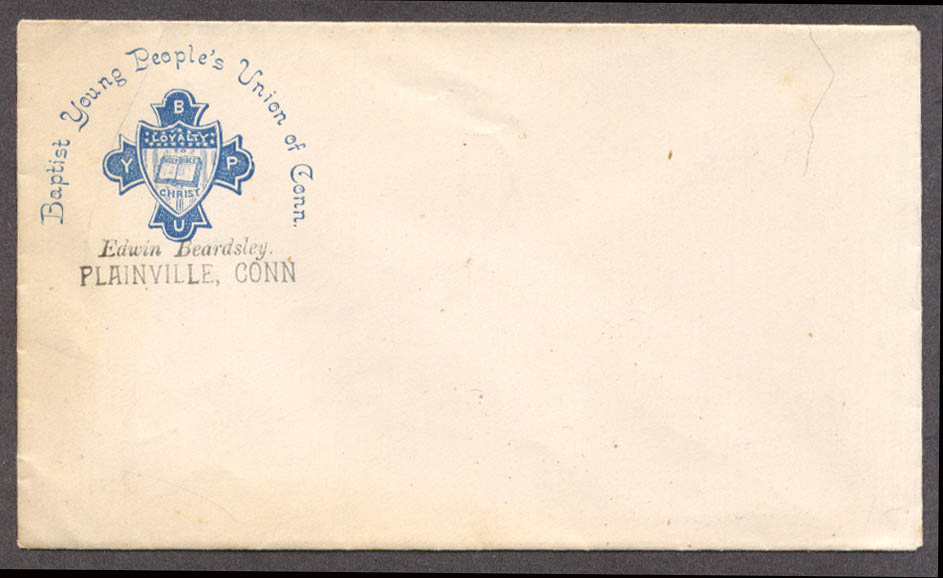 Baptist Young People's Union of Connecticut Plainville member envelope ca 1890s