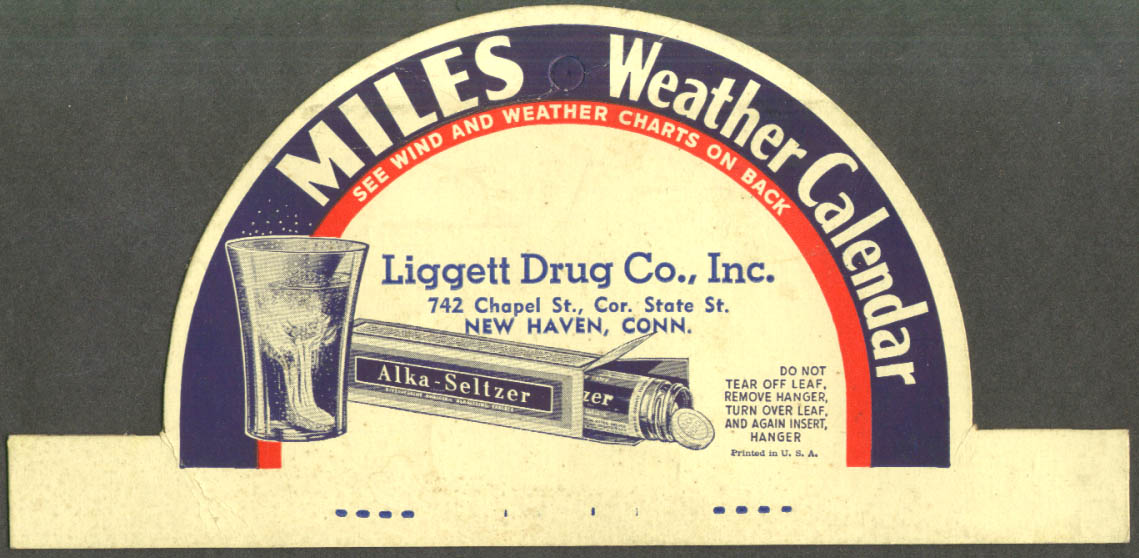 Image for Miles Alka-Seltzer Weather Calendar topper Liggett Drug New Haven CT ca1930s