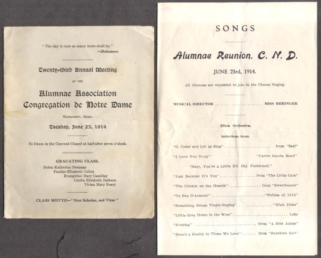 Image for Congregation de Notre Dame Alumnae Assn Meeting program Songs 1914 Waterbury CT