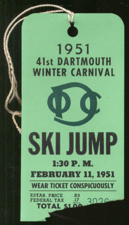 Image for 1951 Dartmouth Winter Carnival Ski Jump admission ticket NH
