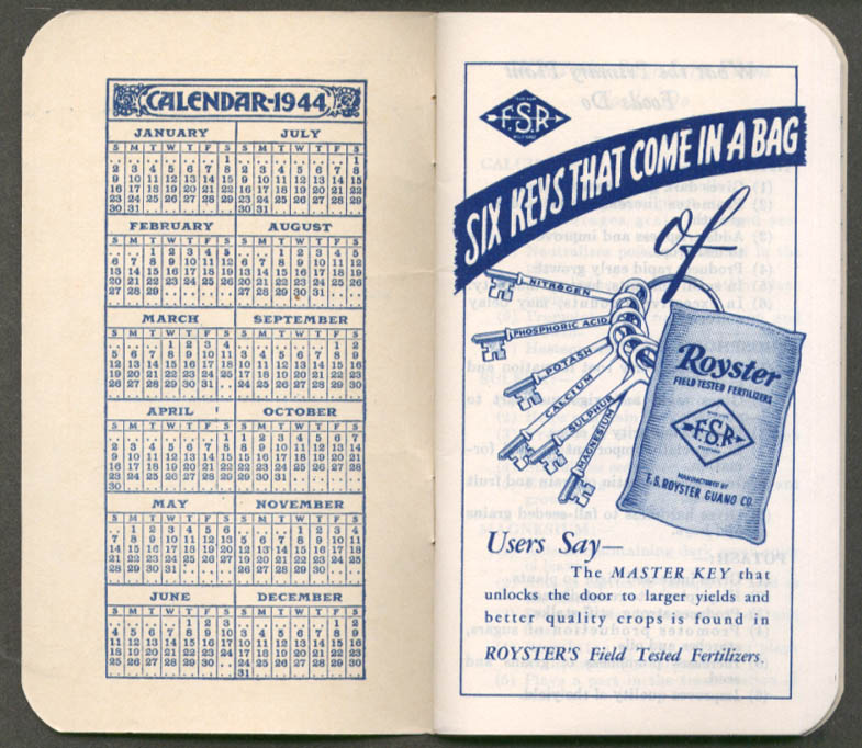 Royster Fertilizers Baltimore MD pocket notebook 1944 1945 unused