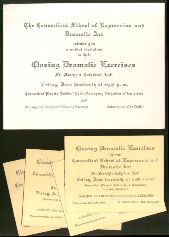 Image for Connecticut School of Expression & Dramatic Art Exercises card & tickets 1929