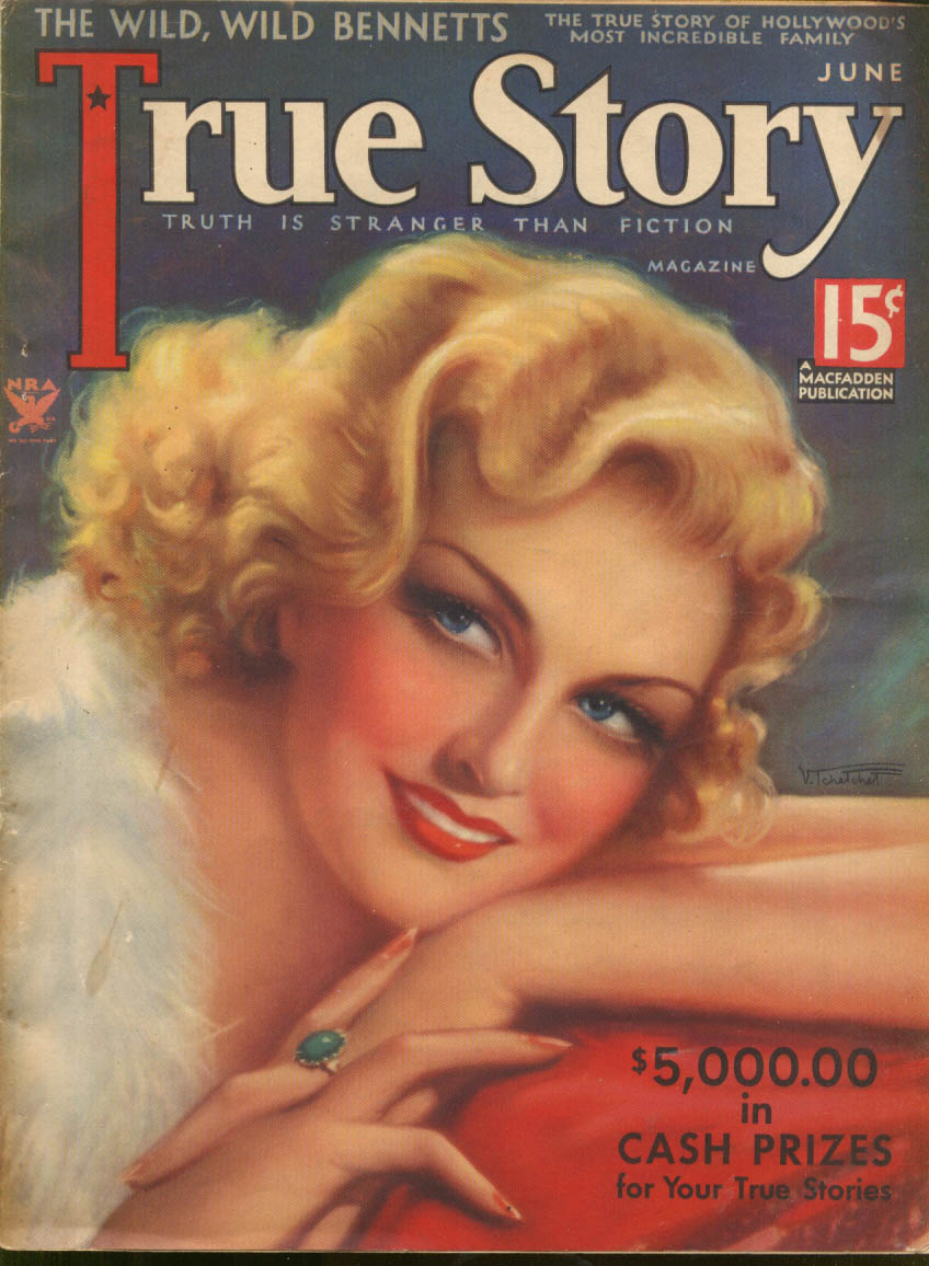 TRUE STORY Hollywood's Bennett Family part 1 6 1934 Tchetchet glamour cover art