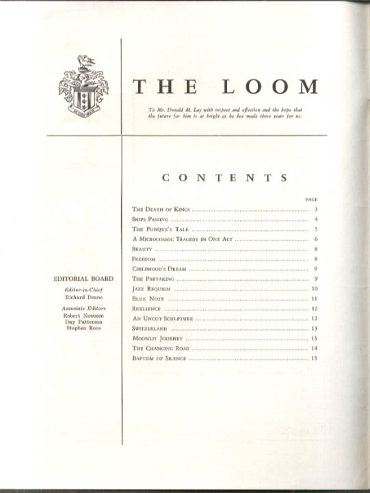 Image for Loomis School The LOOM literary magazine 6 1962 issue Windsor CT