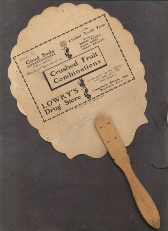 Lowry's Drug Store Crushed Fruit Soda fan E Hartford CT ca 1910