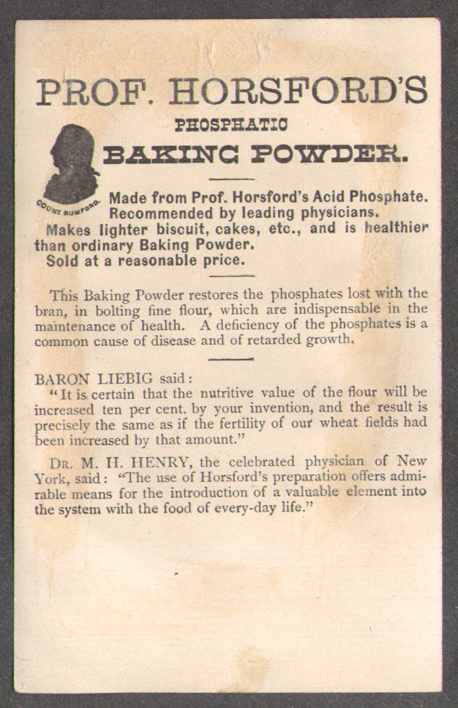 Image for Prof Horsford's Phosphatic Baking Powder trade card Rumford Providence RI 1880s