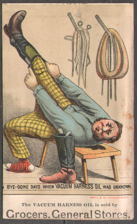 Image for When Vacuum Harness Oil was Unknown trade card Rochester NY 1880s
