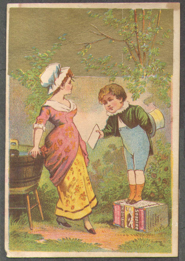 Image for Kendall Soapine trade card Providence RI boy on box hands letter to girl 1880s