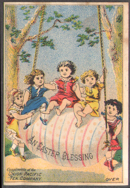 Image for Union Pacific Tea Company NYC trade card 1880s 5 girls on Easter Egg swing