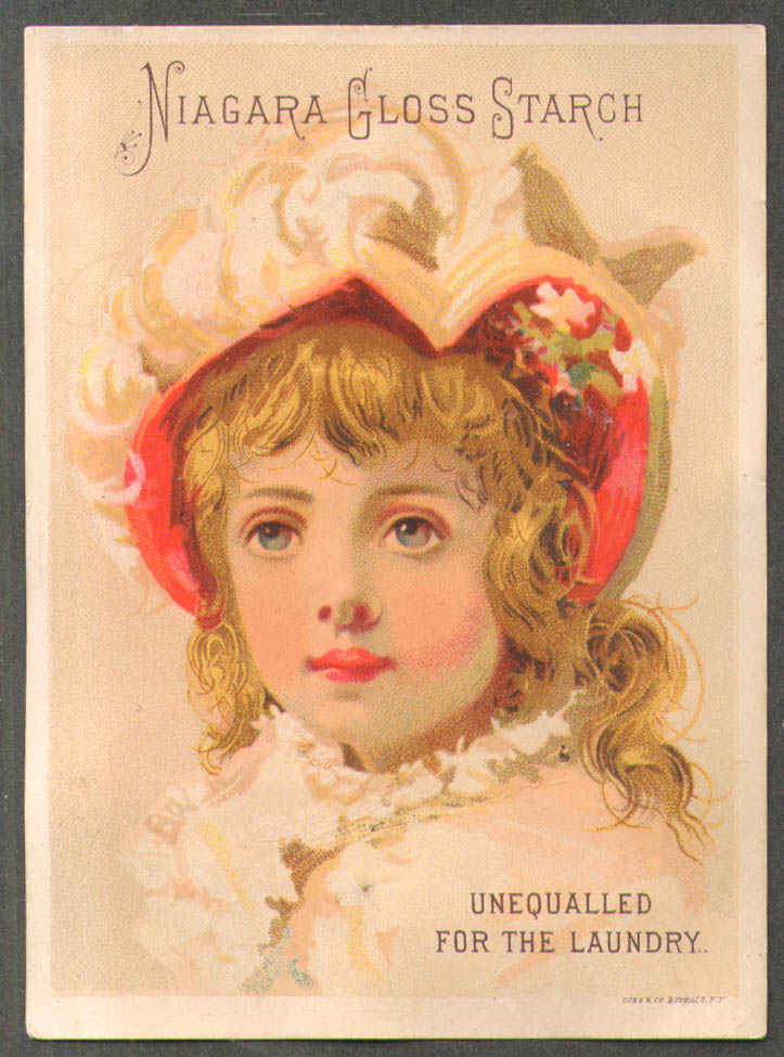 Image for Niagara Gloss Starch trade card girl red-lined bonnet feathers 1880s