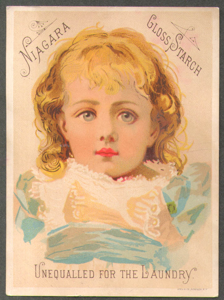 Image for Niagara Gloss Starch trade card blonde girl lace pinafore 1880s