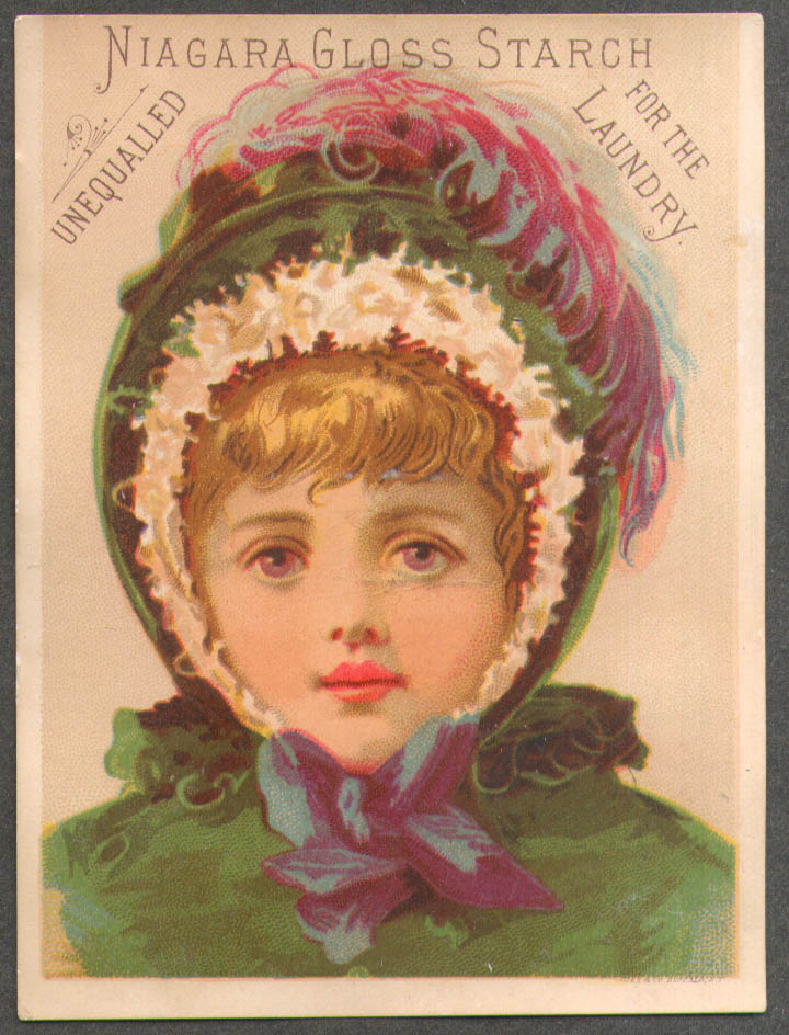Image for Niagara Gloss Starch trade card girl green feathered hood & coat 1880s