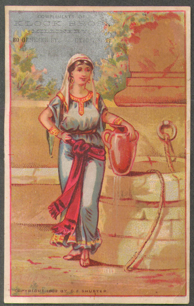 Image for Klock Bros Millinery Utica NY trade card woman at the well 1882