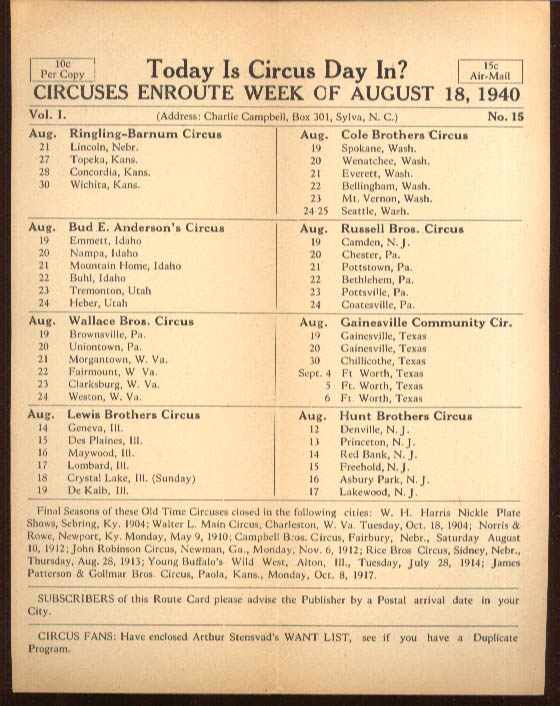 Today is Circus Day Consolidated Route Card #15 8/18 1940 Ringling Bros et al